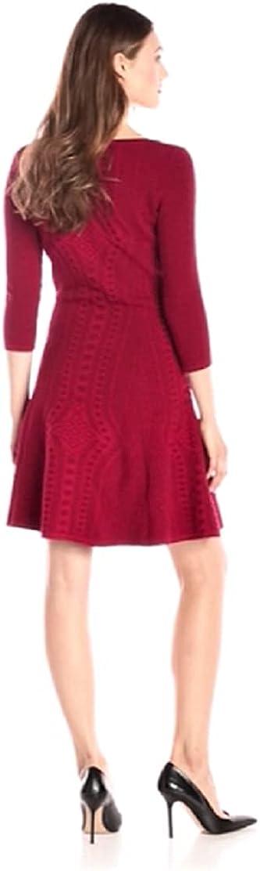 Gabby Skye Women's Petite 3/4 Sleeve Fit and Flare Sweater Dress