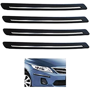 A2D Black n Chrome Strip Car Bumper Guards Protectors Set of 4 for Maruti Suzuki Baleno