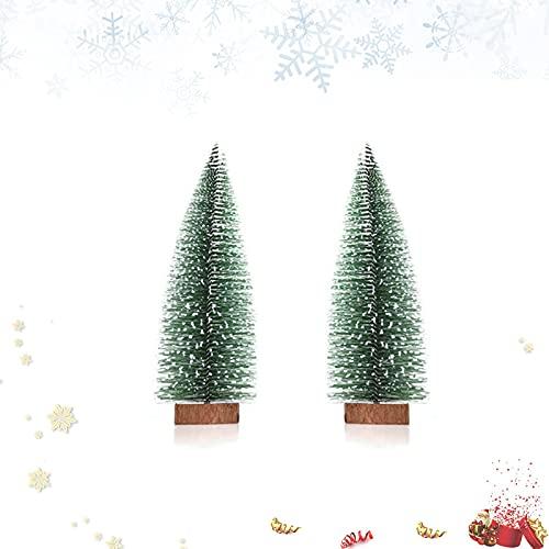 Mini Albero di Natale, 2 Pezzi Albero di Natale Innevato, Alberi di Natale Artificiali, Snow Frost Alberi con Base, Miniatura Albero di Natale per La Domestica Festa di Natale Decorazione(20cm)