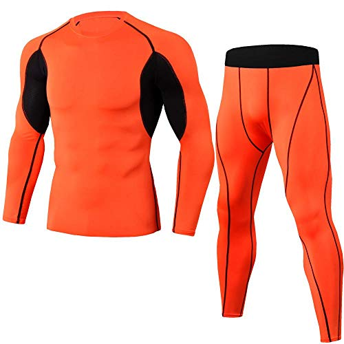 Sneldrogende suits_fitness trainingspakken stretch sneldrogend past bij lange mouwen, lange pakken oranje, S