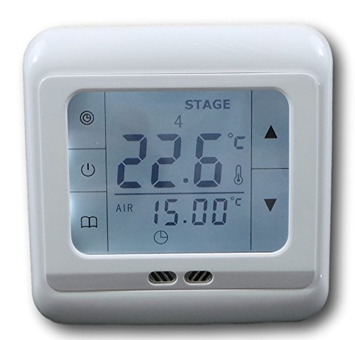 SM-PC®, Raumthermostat Thermostat programmierbar Touchscreen Digital weiß #832