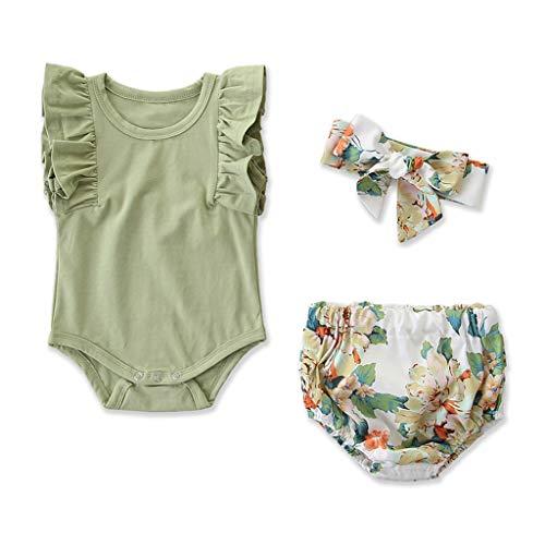 Janly Clearance Sale Conjunto de trajes para niñas de 0 a 24 meses, sin mangas, con volantes y pantalones cortos florales, para niños grandes de 0 a 6 meses (verde)