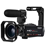 ORDRO Z20 Video Camera Night Vision Camcorder 1080P Digital YouTube Vlogging Camera Recorder with Microphone, Wide-Angle Lens, Hood, Handheld Stabilizer, 32G SD Card and 2 Batteries