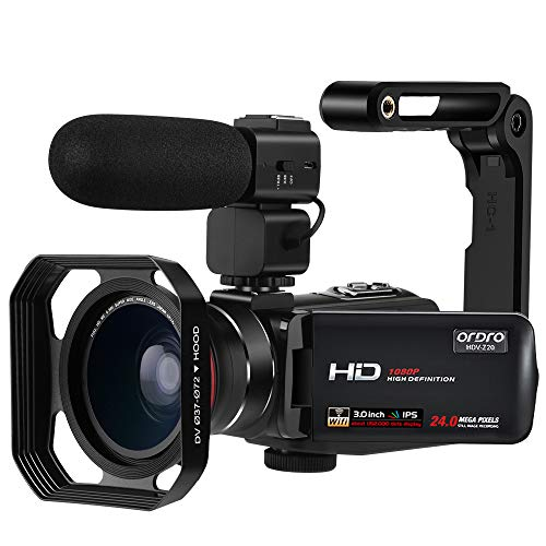 Camcorder Video Camera ORDRO Z20 FHD 1080P 30FPS Vlogging Camera 3.1'' IPS Touchscreen Digital Video Recorder Wi-Fi Camera Camcorders with Microphone and Wide Angle Lens