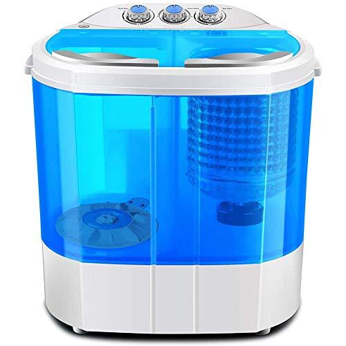 FDY Mini Lavatrice A Doppio Cilindro (Lavaggio 4KG + Asciugatura 3KG) Disidratatore Portatile per Lavatrice Risparmia Elettricità E Acqua Adatto per Appartamenti, Campeggio, Dormitorio