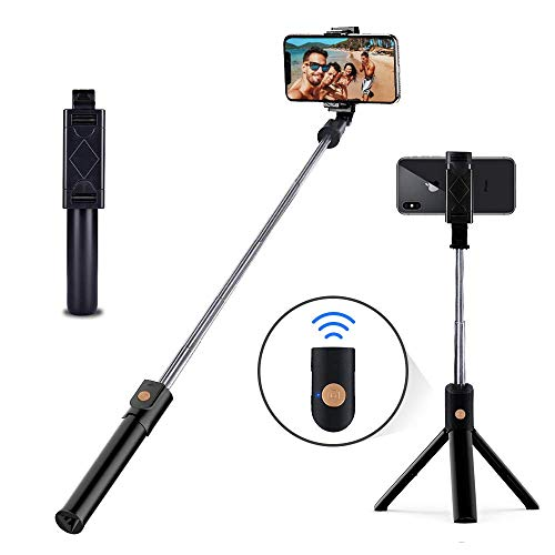 HEHUI Selfie Stick Tripod Stand Holder Extendable with Bluetooth Remote Compatible with Samsung Galaxy S7/7 Plus /S8/8 plus/S9/9 Plus iOS and Android Cellphone/Phone X/Phone 8/8 Plus