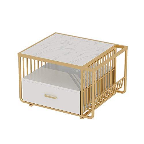 """HLL Schreibtische, Beistelltisch, 3-Tier Raum, mit Schubladen, Seite mit einem Magazin Rack, Marmortischplatte, Gesamt Verpackung, 18""""X18"""" X15"""",Weiß"""