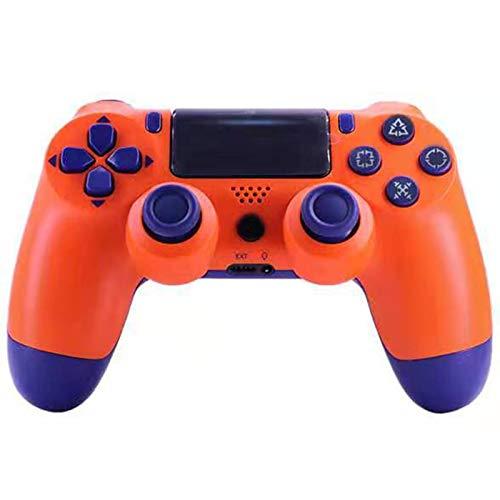 ERGGQAQ Gamepad Inalámbrico Bluetooth, Controlador PS4, con Barra luz LED y Panel Táctil, para Playstation 4 Pro/PC/Teléfono Celular/Tableta/Switch/Joystick Juego DualShock 4,Naranja