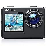 4K Action Cam 24MP WiFi Cámara con pantalla táctil y mandos a distancia Cámara subacuática hasta 40m EIS Sport 4x1050mAh Baterías, cargadores y accesorios