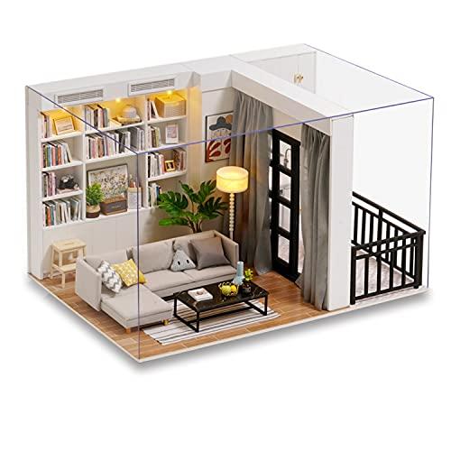 [MuMuBoo] ドールハウス 日本語説明書 1/12サイズ 初心者 手作りミニチュアキット ミニチュア家具 DIY 木製 【 LEDライト 防塵用ディスプレイカバー 付属 】 (1/12サイズ VITALITY LIFE)