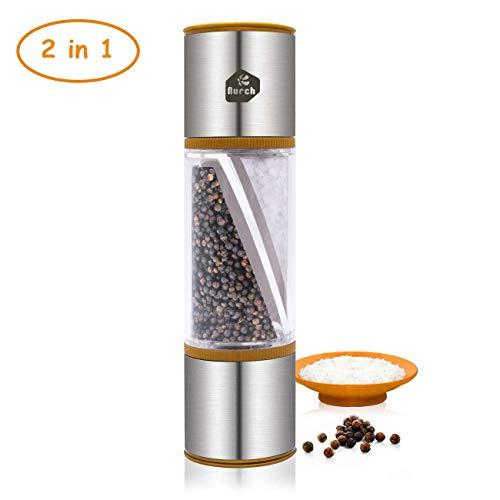 Nurch Salz und Pfeffermühle 2 in 1, Zweifache Salz und Pfefferkorn-Gewürzmühle mit Verstellbarer Coarseness, Gewürzmühle aus gebürstetem Edelstahl und klarer Acrylflasche