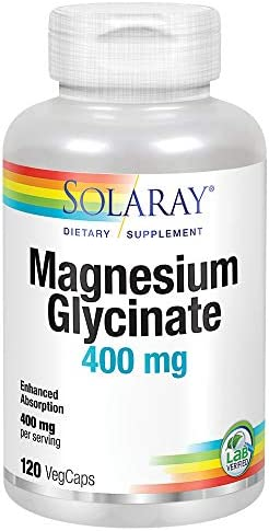 Solaray Magnesium Glycinate 400 mg | Healthy Relaxation, Bone & Cardiovascular Support (275 CT)