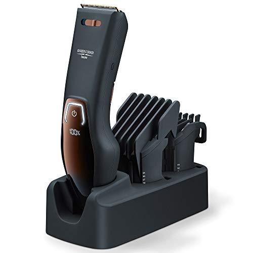 Beurer HR5000 - Cortapelos con-sin cable, pantalla LED, 11 longitudes de corte, ajuste precisión 5 niveles, cuchilla acero inoxidable con revestimiento de titanio, batería litio, carga rápida, negro (Ordenadores personales)