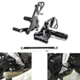 MZS Adjustable Rearsets Footrests Footpegs Rear Sets CNC Compatible with FZ-07 FZ07 MT-07 RM07J 2014 2015 2016 2017 2018 Black