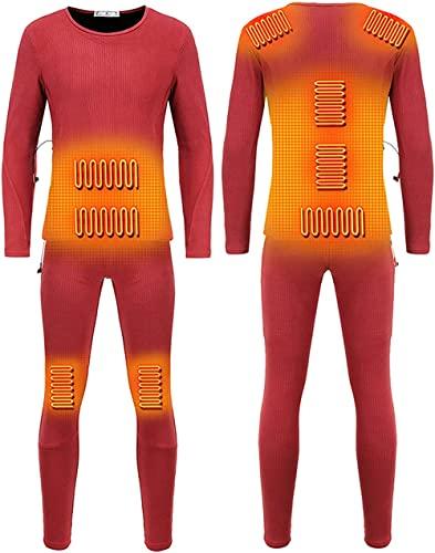 Conjunto de ropa interior térmica para hombre, con calefacción por USB, camiseta térmica de manga larga + pantalones de capa base ultrasuave para entrenamiento, correr, Parte superior (rojo,L)