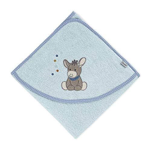 Sterntaler Kapuzenbadetuch Esel Emmi, Alter: ab 0 Monate, 100 x 100 cm, Hellblau