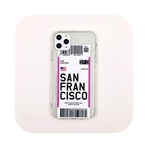 INS Air ticket city London Paris Tokio Seúl Berlin funda para iPhone 6 6s 7 8 Plus 12 mini 11 Pro X XS Max XR Clear QR code Cover-San Francisco-para iPhone 11