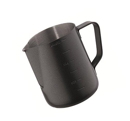 Kerafactum®–Black Barista lechera Leche lanzador Kleine Jarra espumador de leche para para espumar leche jarra de acero inoxidable 0,35litros–Milk Pitcher 12onzas