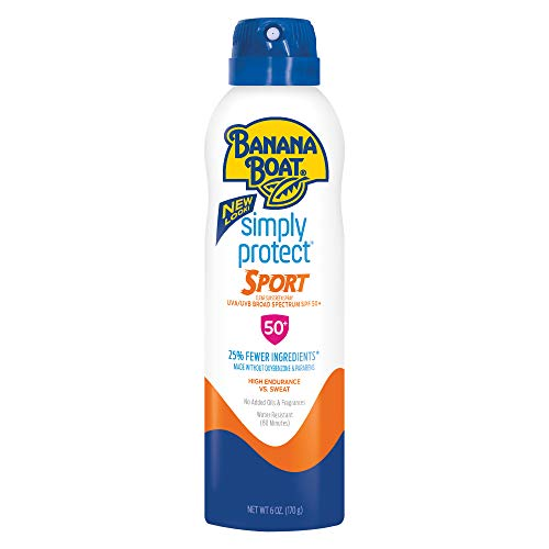 Banana Boat Simply Protect Sport Sunscreen Spray, SPF 50+, 25% Fewer Ingredients, 6 Ounces