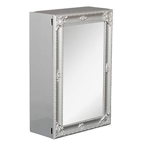 LEBENSwohnART Spiegelschrank MARA Silber Grau ca. 40x60cm Badschrank Spiegel Barock Schiebetür