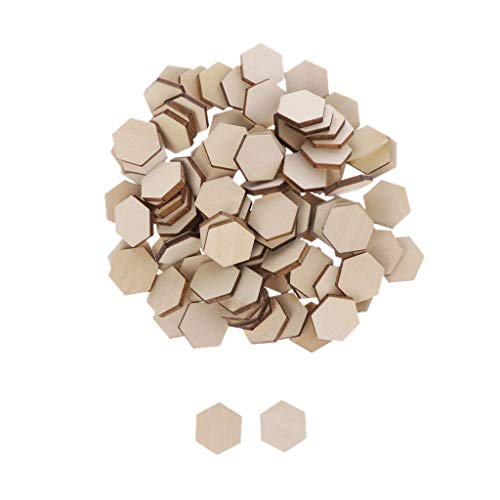 Baiyao - 100 unidades de discos de madera hexagonales en blanco de 17,5 mm para colgar adornos de arte para manualidades, decoración de bodas, Navidad, regalo de Navidad