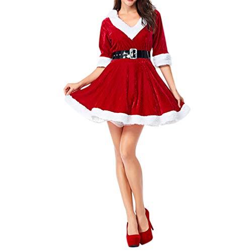 semen Mère de Noël Femme Mini Robe en Coton avec Ceinture Déguisement Costume Soirée (Étiquette M (Tour de Poitrine 93 cm), Rouge)