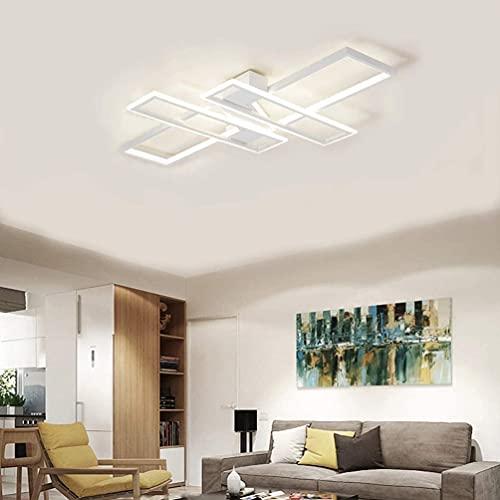 Lámpara LED de techo para salón, lámpara de diseño, regulable, lámpara de techo, moderna, decorativa, elegante, iluminación de techo de metal, pantalla acrílica con mando a distancia para