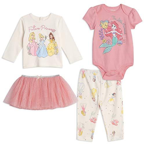 Disney Princess Baby Girls Layette Set Bodysuit Shirt Pants Skirt 0-3 Months Pink/White