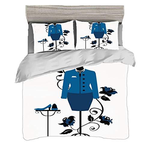 Bettwäscheset Doppelte Größe (200 x 200 cm) mit 2 Kissenbezügen Absätze und Kleider Mikrofaser-Bettwäsche-Sets Mannequin im Schneidershop mit blühender Blumen-Retro- klassischem dekorativem,blauem Sch