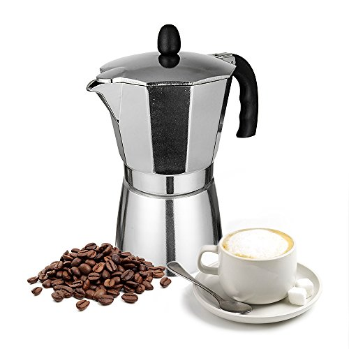 TopHomer Moka Pot 6 Cup Coffee Express Espresso Maker Stovetop Aluminium with Large Handle Perfect for Home and Office Use