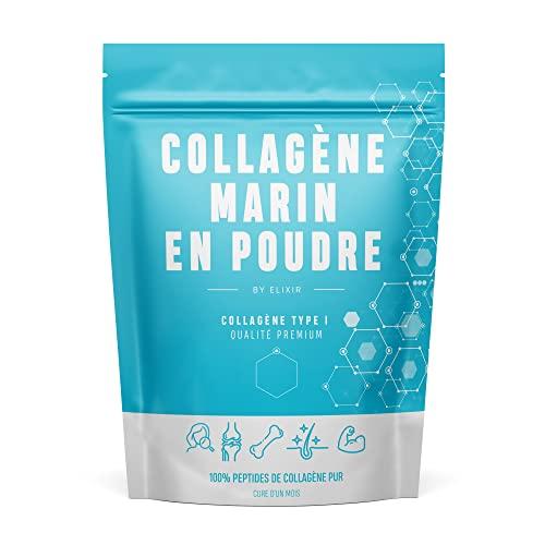 BY ELIXIR x PEPTAN, Peptide de Collagène Marin Pur Hydrolysé de Type 1. Pour la Peau, les Cheveux, les Articulations, en Musculation - 310g - Cure d'un Mois - Produit Breveté - Elaboré en France