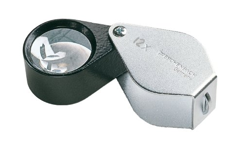 Einschlaglupe aus Metall [Eschenbach 117612] aplanatische Linse aus hochwertigem Silikat, Abmessungen Linse: Ø 15 mm, Vergrößerung: 12x