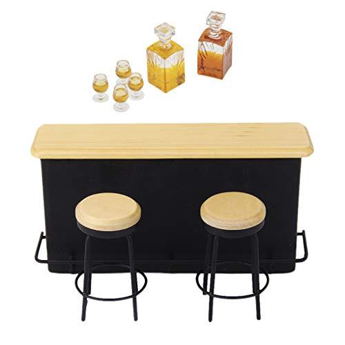 SM SunniMix 1/12 Modelo de Mesa de Bar con Taburete Botella de Vino en Miniatura para Casa de Muñecas