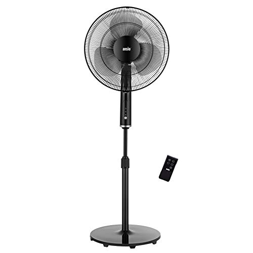 ANSIO Pedestal Fan with Remote Control - 3 Blades -3 Speed Level Stand Fan with Adjustable Height -16 inch Oscillating fan -Ideal for Home and Office - Black