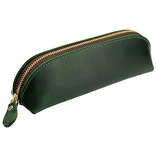 DK86 Leather Zipper Pen Case Pouch Holder Bag - Small Travel Makeup Cosmetic Bag - Vintage Green