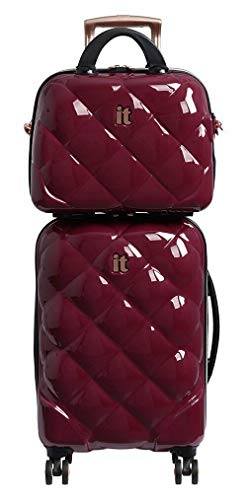 8 Wheel Hard Cabin Suitcase & Vanity Set - Berry
