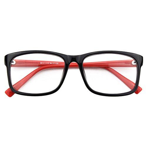 CGID CN12 Brille Extra Schmaler Rahmen! Slim Rechteck Nerd Clear Brille,Schwarz Rot