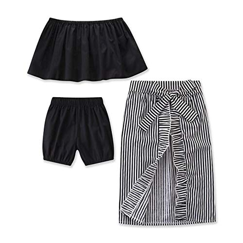 Buy Discount Fashion Baby Kid Girl Dress Summer Clothes Black Off Shoulder Top+Shorts+Striped Skirt ...