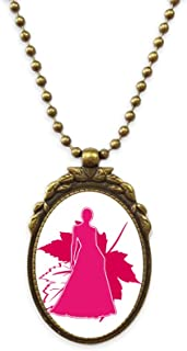 Women Posture Shadow Leaves Antique Necklace Vintage Bead Pendant Keychain
