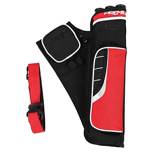 Demeras Tiro con Arco Flecha Carcaj Flechas Soporte Bolsa Flecha Soporte 3 Tubos Cintura Trasera Bolsa de Hombro Bolsa para Caza Tiro al Blanco(Rojo)