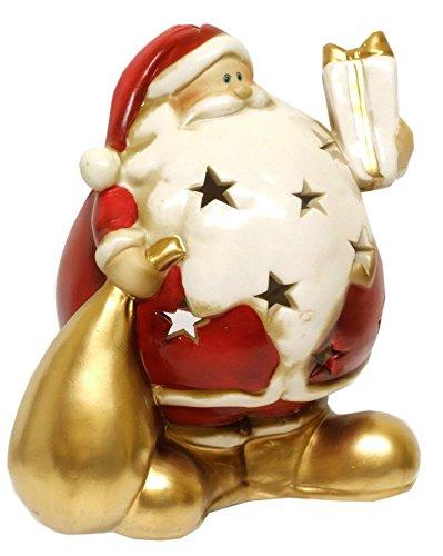 Gisela Graham Tea light Holder 50147, ceramica Babbo Natale che tiene un sacco