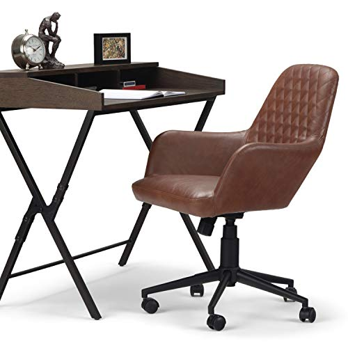 SIMPLIHOME Goodwin Swivel Adjustable Executive Computer Office Chair in Distressed Cognac in SOLID WOOD, for the Office and Study, Contemporary