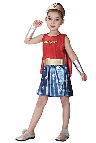 KIRALOVE Disfraz - Disfraz - niña - Mujer Maravilla - Disfraces - Halloween - Carnaval - Cosplay Talla XL 130 - 140cm Wonder Woman Cosplay