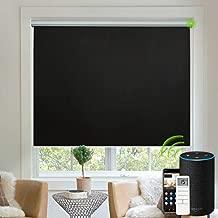 Yoolax Motorized Blinds Blackout Fabric Automatic Shades Remote Control Cordless Room Darkening Window Blinds (Black)