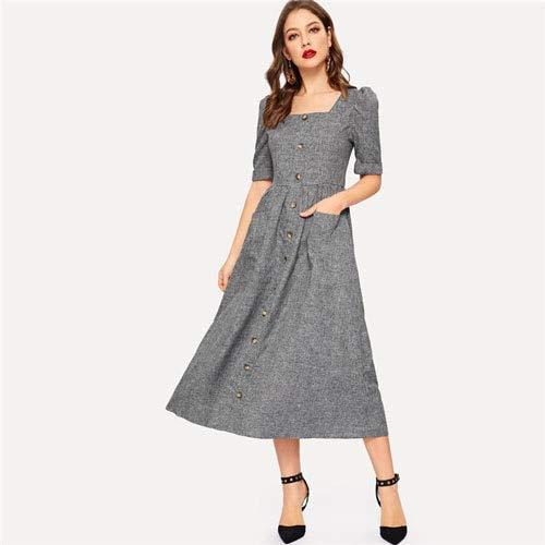 GMZA vintage grijze buffer mouwen knoop bovenkant fit en uitgereikt maxi-jurk vrouwen vierkante kraag hoge taille een lijn lange jurk