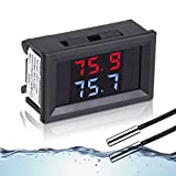 IS Icstation Digital Thermometer, Car Auto Temperature Gauge Sensor, DC 4-28V Fahrenheit Dual Display, Monitor with 2 NTC Waterproof Probes for Aquarium Vehicle Fish Tank