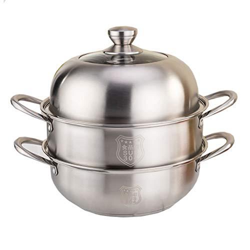Steamer/Olla De Sopa, 3-capa Del Hogar 304 De Vapor De Acero Inoxidable, 26/28/30 Cm, For 3-7 Personas, Adecuado For La Estufa De Gas/Cocina De Inducción Ollas (Size : 28CM)