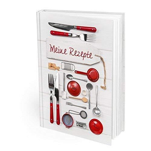 Rot weißes XXL Rezeptbuch in DIN A4 im rustikalen vintage oder Shabby Chic Style mit 168 leeren numerierten Seiten - das perfekte Geschenk für Hobby-Köche oder auch zu Hochzeit, Geburtstag etc.