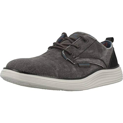 Skechers Status 2.0 Pexton, Zapatos de Cordones Derby para Hombre, Negro (Black Canvas Black), 41 EU