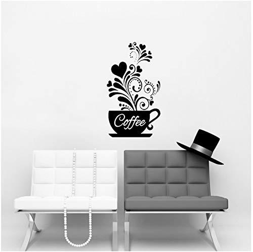 chuangyue Flor Creativa Vid Taza De Café Etiqueta De La Pared para Café Restaurante Decoración Calcomanías Papel Pintado Cocina Pegatinas 28X50 Cm